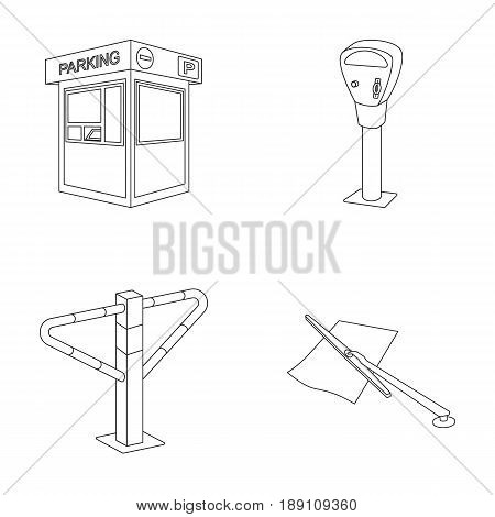 A parking lot, a parking meter, a check for services, a barrier. Parking zone set collection icons in outline style vector symbol stock illustration .