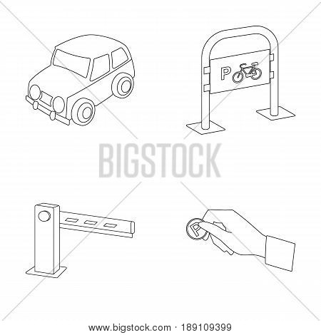 Car, parking barrier, bicycle parking place, coin in hand for payment. Parking zone set collection icons in outline style vector symbol stock illustration .