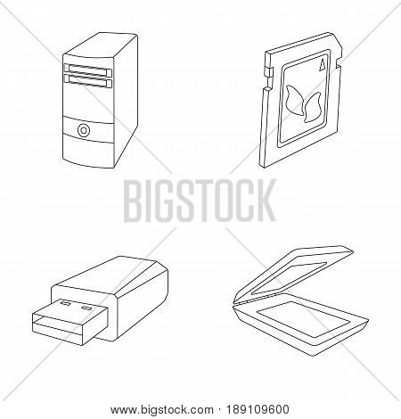 A system unit, a flash drive, a scanner and a SD card. Personal computer set collection icons in outline style vector symbol stock illustration .