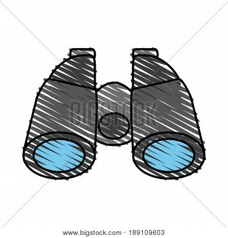 color crayon stripe cartoon binocular field glasses vector illustration