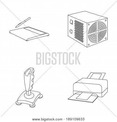 Power unit, dzhostik and other equipment. Personal computer set collection icons in outline style vector symbol stock illustration .