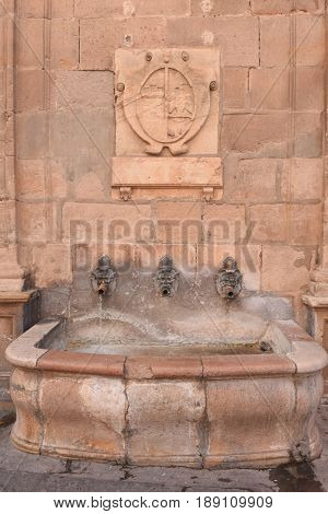 old fountain in Siguenza Guadalajara province Castilla-La Mancha Spain