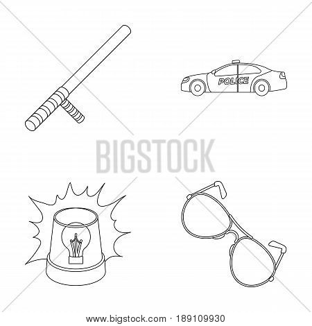 Police baton, auto, flasher, glasses.Police set collection icons in outline style vector symbol stock illustration .