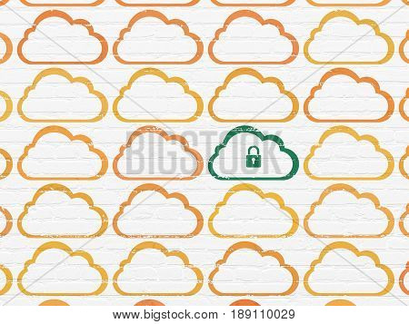 Cloud technology concept: rows of Painted orange cloud icons around green cloud with padlock icon on White Brick wall background