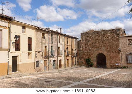 medieval door of Palazuelos in Guadalajara province Castilla La Mancha Spain