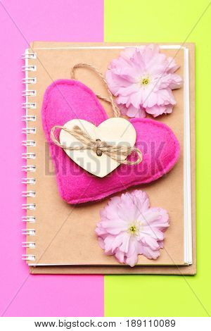 Notepad With Eco Cover With Pink Felt Heart And Sakura