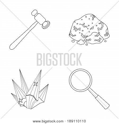 A jeweler s hammer, a magnifier, a copper ore, a crystal. Precious minerals and a jeweler set collection icons in outline style vector symbol stock illustration .