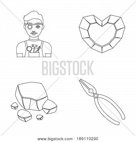Jeweler, pliers, gold ore, garnet in the form of heart. Precious minerals and jeweler set collection icons in outline style vector symbol stock illustration .