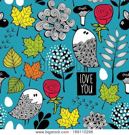Endless background with doodle birds and nature elements. Floral seamless pattern in vector.