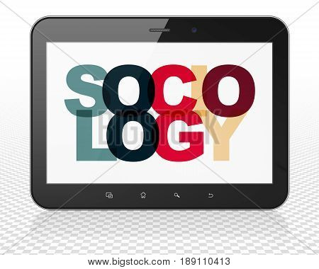 Education concept: Tablet Pc Computer with Painted multicolor text Sociology on display, 3D rendering