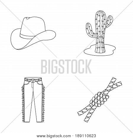 Hat, cactus, jeans, knot on the lasso. Rodeo set collection icons in outline style vector symbol stock illustration .