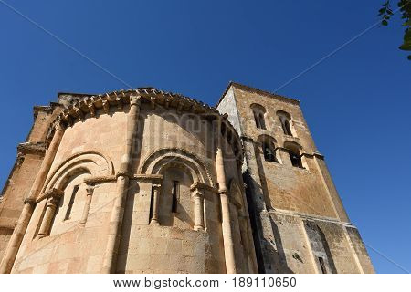 Bell tower and apse of El Salvador ChurchSepulvedaSegovia province Spain