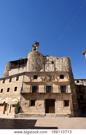 Castle Fernan Gonzalez El Trigo square Sepulveda Segovia province. Castile-Leon Spain