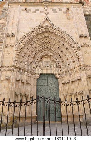Entrance door af Monastery of Nuestra Senora de la Soterrana Santa Maria la Real de Nieva Segovia province Castilla-Leon Spain
