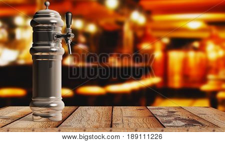 Bar Beer Tap closeup on a wooden table. 3d Rendering