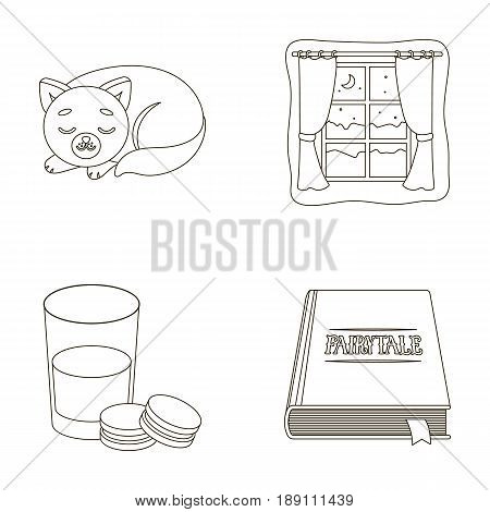 Sleeping cat, night outside the window, milk and biscuits, fairy tales. Rest and sleep set collection icons in outline style vector symbol stock illustration .