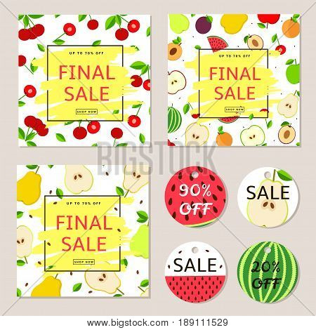 Final sale posters banners label - colorful vector set with fruit.