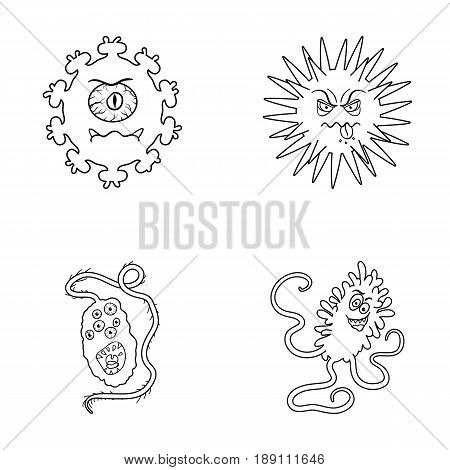 Different types of microbes and viruses. Viruses and bacteria set collection icons in outline style vector symbol stock illustration .