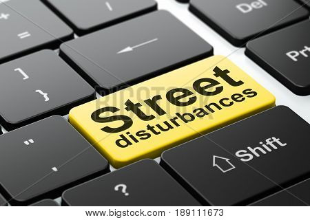 Politics concept: computer keyboard with word Street Disturbances, selected focus on enter button background, 3D rendering