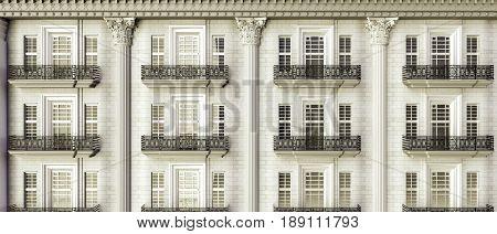 3d illustration of an european building facade