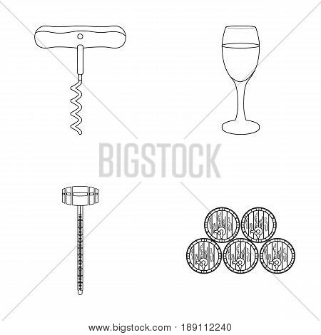 Corkscrew, alcohol counter, barrels in the vault, a glass of white wine. Wine production set collection icons in outline style vector symbol stock illustration .