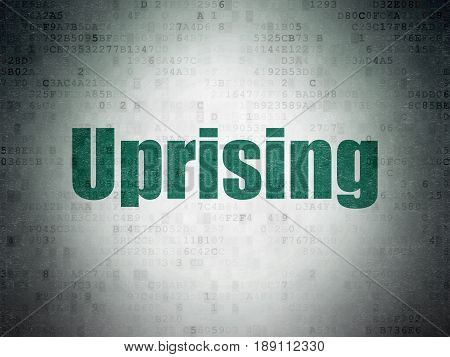 Politics concept: Painted green word Uprising on Digital Data Paper background