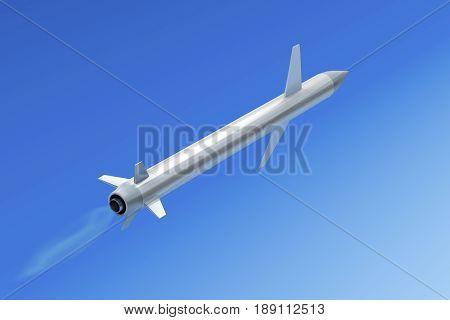 Flying missile in the sky, 3D illustration