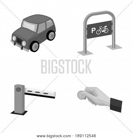 Car, parking barrier, bicycle parking place, coin in hand for payment. Parking zone set collection icons in monochrome style vector symbol stock illustration .