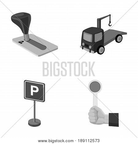 Transmission handle, tow truck, parking sign, stop signal. Parking zone set collection icons in monochrome style vector symbol stock illustration .