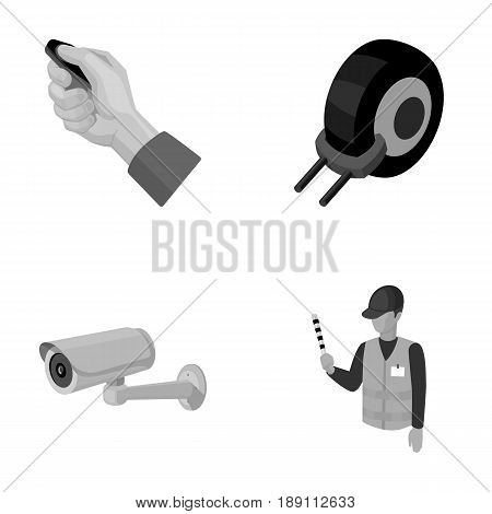 Car alarm, wheel rim, security camera, parking assistant. Parking zone set collection icons in monochrome style vector symbol stock illustration .