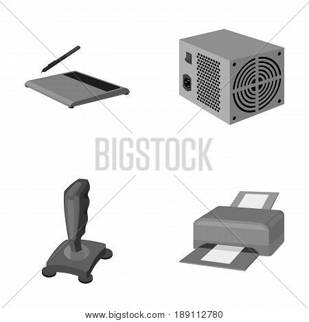 Power unit, dzhostik and other equipment. Personal computer set collection icons in monochrome style vector symbol stock illustration .