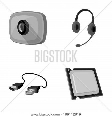 Webcam, headphones, USB cable, processor. Personal computer set collection icons in monochrome style vector symbol stock illustration .
