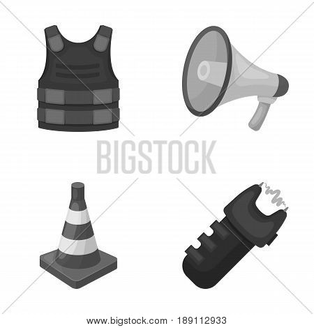 Bulletproof vest, megaphone, cone of fencing, electric shock. Police set collection icons in monochrome style vector symbol stock illustration .