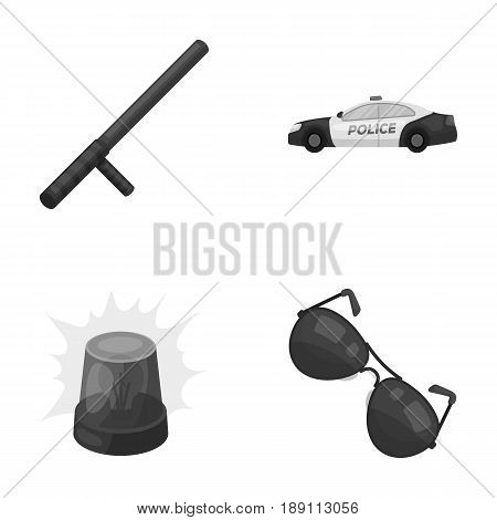 Police baton, auto, flasher, glasses.Police set collection icons in monochrome style vector symbol stock illustration .