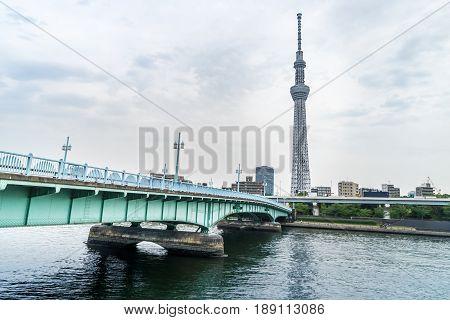 Tokyo Japan - May 1 2017: Metal Bridge crossing to Tokyo Skytree tower.