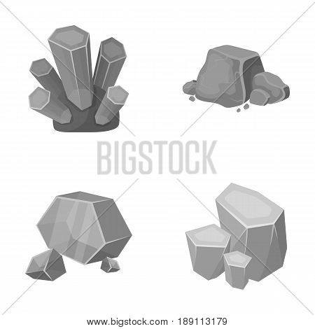 Crystals, iron ore. Precious minerals and a jeweler set collection icons in monochrome style vector symbol stock illustration .