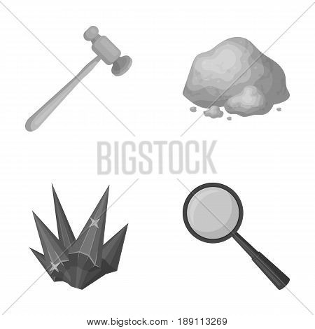 A jeweler s hammer, a magnifier, a copper ore, a crystal. Precious minerals and a jeweler set collection icons in monochrome style vector symbol stock illustration .