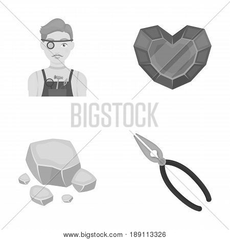 Jeweler, pliers, gold ore, garnet in the form of heart. Precious minerals and jeweler set collection icons in monochrome style vector symbol stock illustration .