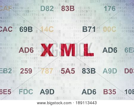 Software concept: Painted red text Xml on Digital Data Paper background with Hexadecimal Code