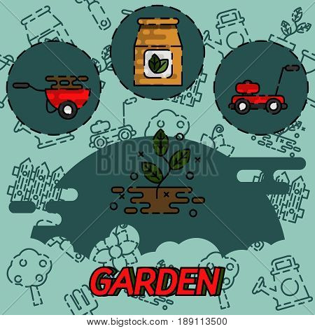 Garden flat concept icons. Vector illustration, EPS 10