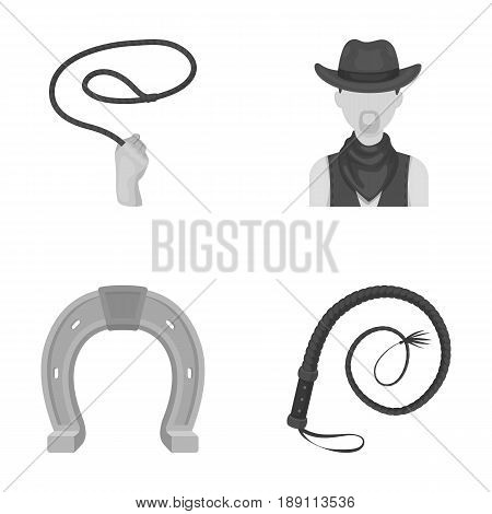 Hand lasso, cowboy, horseshoe, whip. Rodeo set collection icons in monochrome style vector symbol stock illustration .