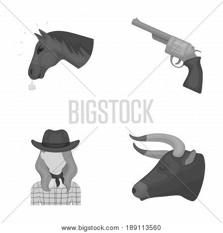 Head of a horse, a bull s head, a revolver, a cowboy girl.Rodeo set collection icons in monochrome style vector symbol stock illustration .