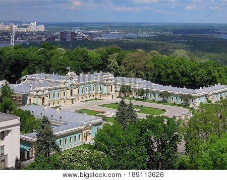 Kiev Ukraine - May 20 2017: Mariinsky Palace in the Mariinsky Park top view editorial