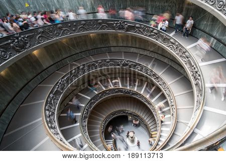 Vatican City, 17 May 2017 : Blurred People Walking Along The Spiral Staircase In Vatican Museum