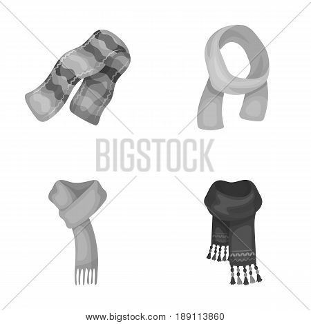 Various kinds of scarves, scarves and shawls. Scarves and shawls set collection icons in monochrome style vector symbol stock illustration .