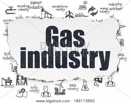 Industry concept: Painted black text Gas Industry on Torn Paper background with  Hand Drawn Industry Icons