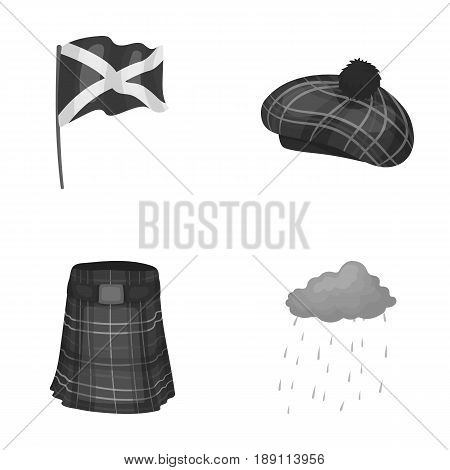 Flag, kilt, rainy weather, cap.Scotland country set collection icons in monochrome style vector symbol stock illustration .