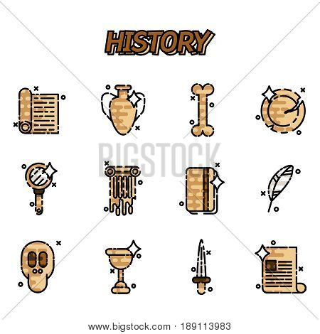 History and culture icons. Vector illustration, EPS 10