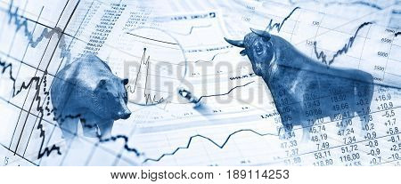 Bull bear charts and stock charts as symbols for the stock exchange