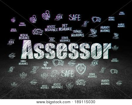 Insurance concept: Glowing text Assessor,  Hand Drawn Insurance Icons in grunge dark room with Dirty Floor, black background